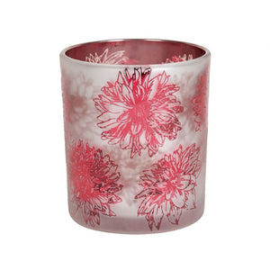 Pink Floral Glass Tealight Holder - 10cm