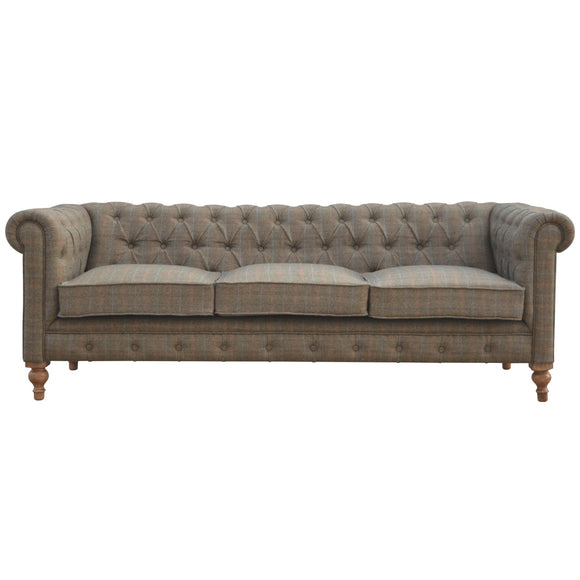 Country Collection 3 Seater Chesterfield Sofa - Multi Tweed