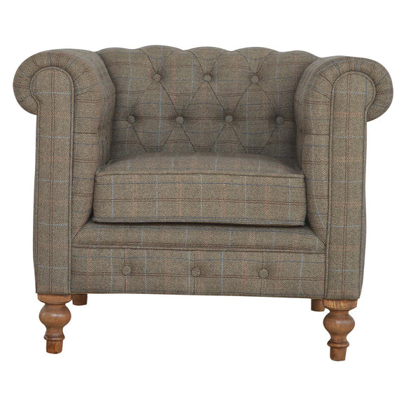 Country Collection Chesterfield Armchair - Multi Tweed