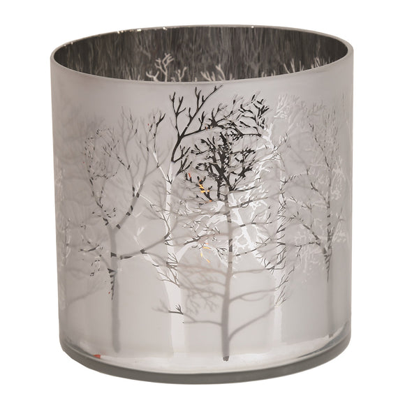 Silver Tree Hurricane Candle Holder - 15cm