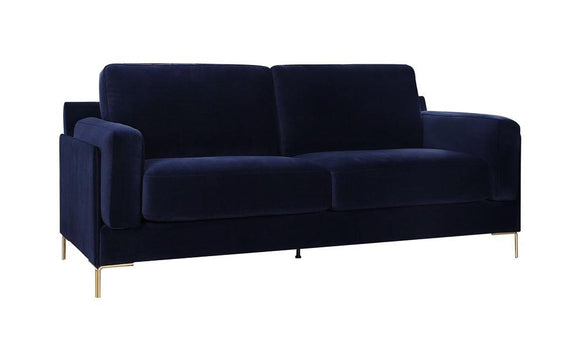 Harvey Collection Audrey 2-Seater Velvet Sofa - Dark Blue