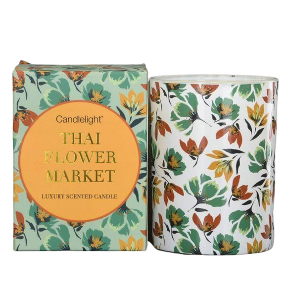 Thailand Wax Filled Pot Candle in Gift Box - Thai Flower Market Scent 220g