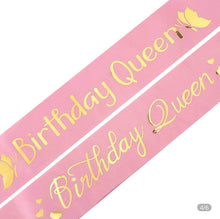 Load image into Gallery viewer, BIRTHDAY QUEEN GLITTER SATIN SASH