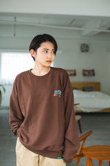 9090 × ichiraku studio STAY HOME Sweat yellow-green(brown)【original】