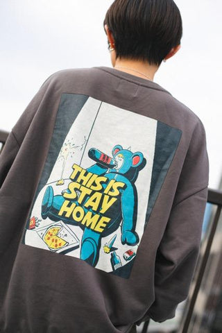 9090 × ichiraku studio STAY HOME Sweat yellow-green(sumi)【original】