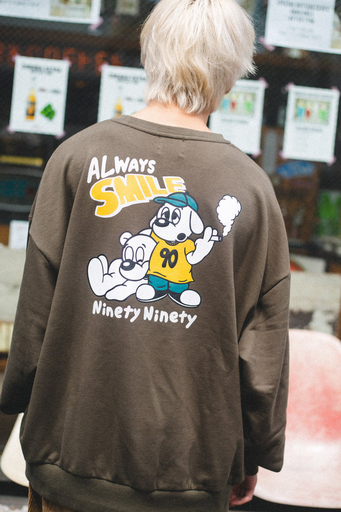 9090 × minagi ALWAYS SMILE Sweat(dull green)【original】