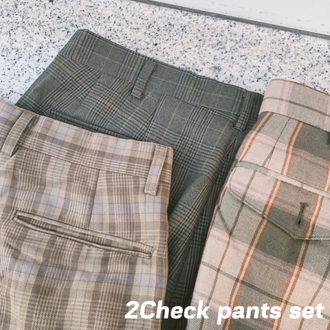 【2set used】2Check pants set