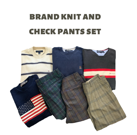 【used set】Brand knit & Check pants set
