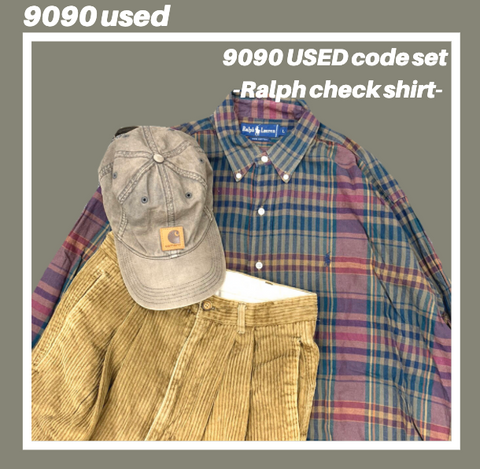 【used set】9:Ralph check shirt code