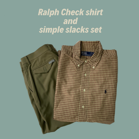 【2set used】Ralph Check shirt × simple slacks set