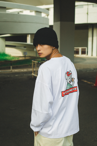 [9/6(Sun)21:00- 受注生産] 9090×CMT×APARTMENT hamburger&rat long T(white)【original】
