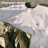 【2set used】Champion sweat & Check pants set