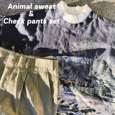 【2set used】Animal sweat & Check pants set