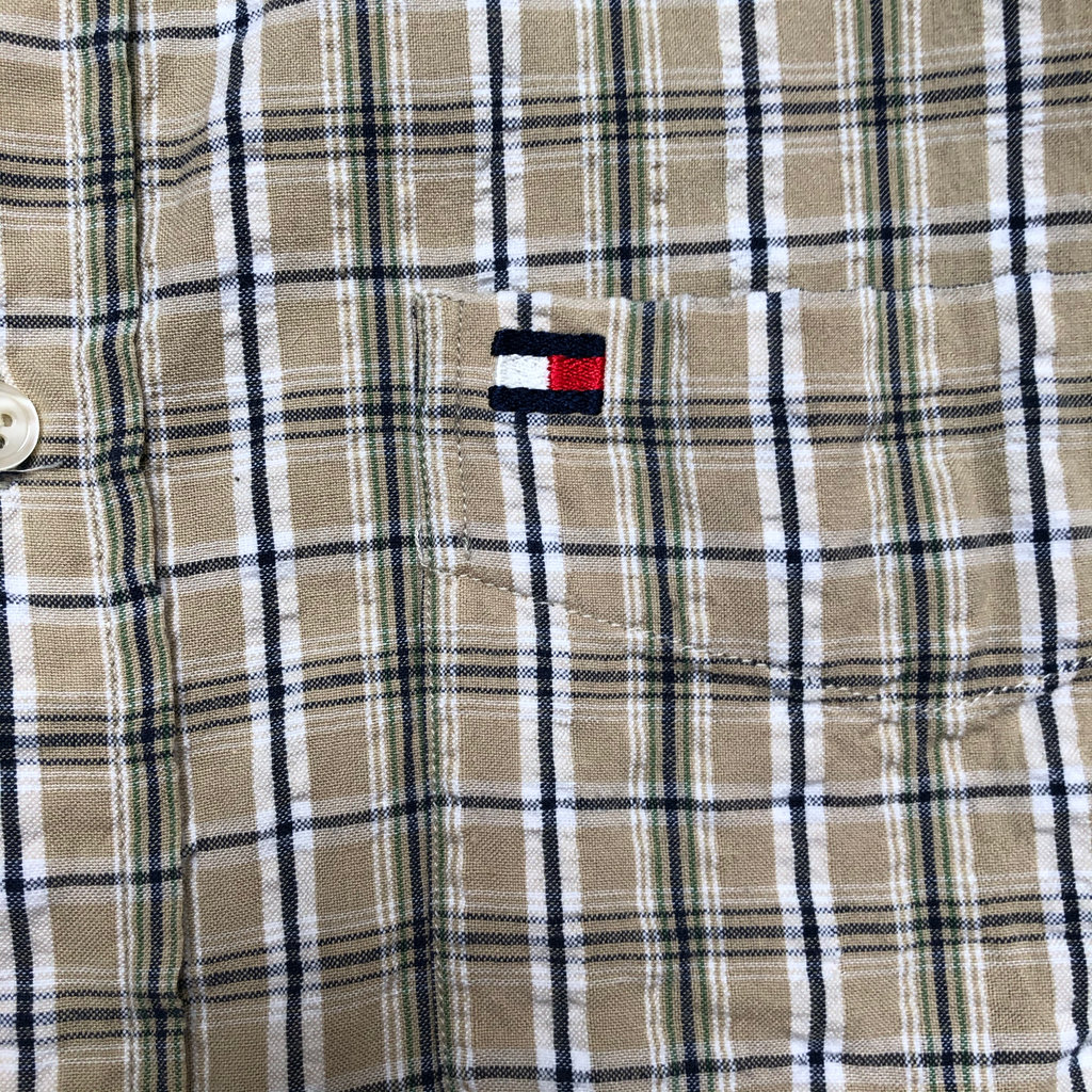 Tommy yellow check shirts【used】