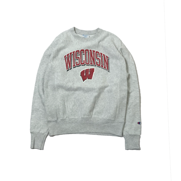 WISCONSIN champion REVERSE WEAVE College Gray Sweat【used】