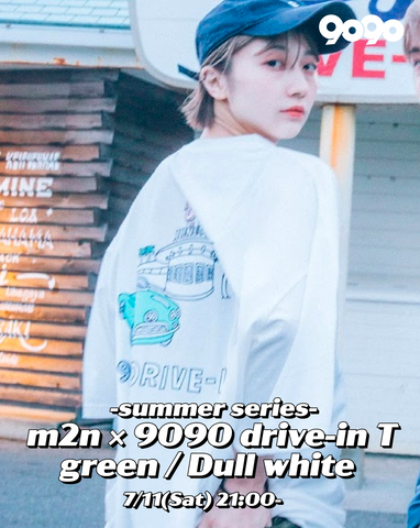 [7/11(Sat)21:00- ] m2n×9090 summer drive-in green T (dull white)【original】
