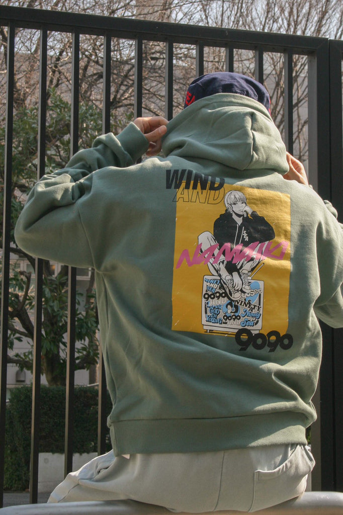 [3/9(火)21:00-]9090 × WIND AND SEA × Hime NAMAIKI GIRL Hoodie(くすみミント)【original】