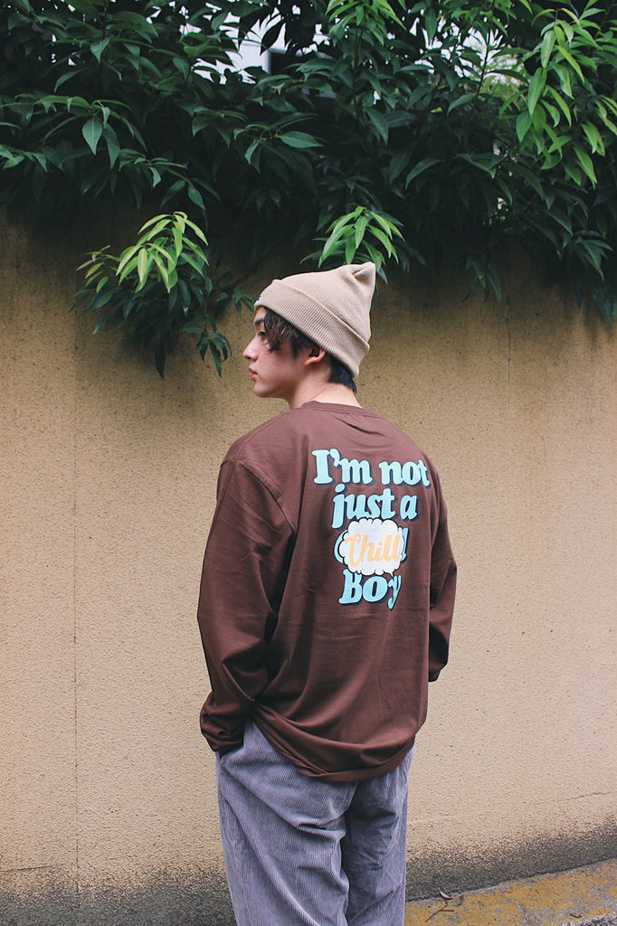 9090 × ichiraku studio  Chill Boy long T blue(ダークブラウン)