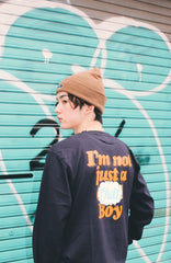 9090 × ichiraku studio  Chill Boy long T orange(ネイビー)