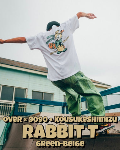 [POP-UP&Online 受注生産] over × 9090 × KousukeShimizu Rabbit T green-beige(white)