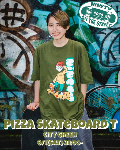【8/2(sun)21:00- 受注生産】Pizza Skateboard T(green)【original】