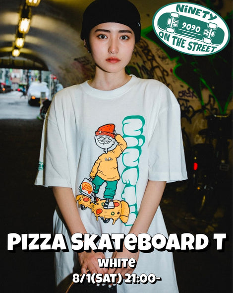 【8/2(sun)21:00- 受注生産】Pizza Skateboard T(white)【original】
