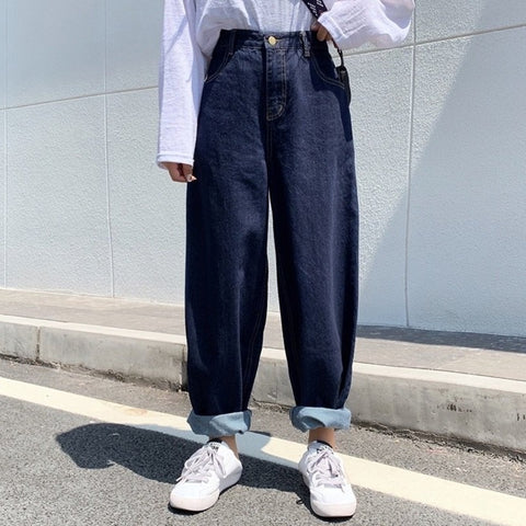 Loose tapered denim pants【select】