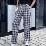 Black white box check pants【select】