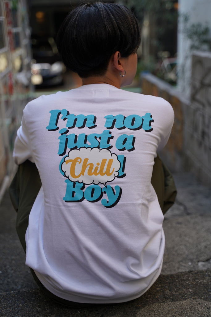 9090 × ichiraku studio  Chill Boy long T blue(ホワイト)