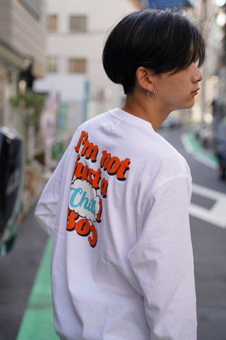 9090 × ichiraku studio  Chill Boy long T orange(ホワイト)