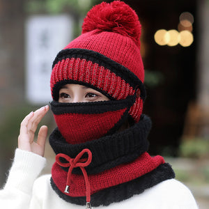 Hat Female Winter Wool Hat Outdoor Thick Warm Winter Hat Riding Windproof Hat Bib Mask Cap Head Cap
