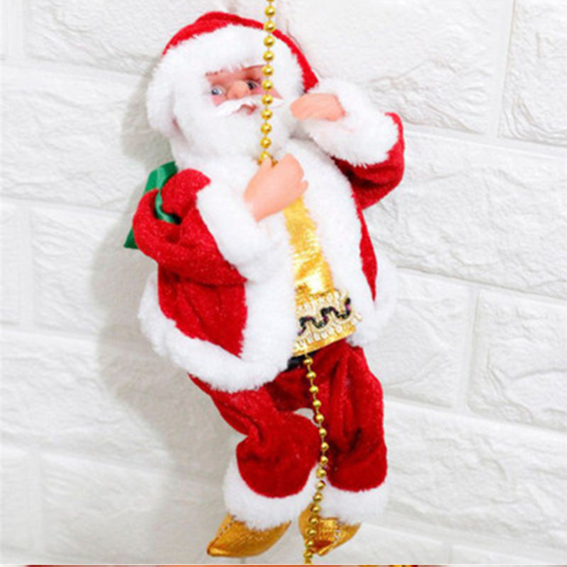 Climbing Ladder Electric Santa Claus Climbing Red Ladder Doll Toy