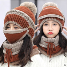 Load image into Gallery viewer, Hat Female Winter Wool Hat Outdoor Thick Warm Winter Hat Riding Windproof Hat Bib Mask Cap Head Cap