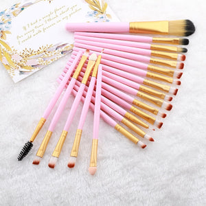 FLD 20 Pieces Makeup Brushes Set Eye Shadow Foundation Powder Eyeliner Eyelash Lip Make Up Brush Cosmetic Beauty Tool Kit