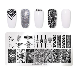 NICOLE DIARY Lace Flower Animal Nail Stamping Plates Marble Image Stamp Templates Geometric  Printing Stencil Tools