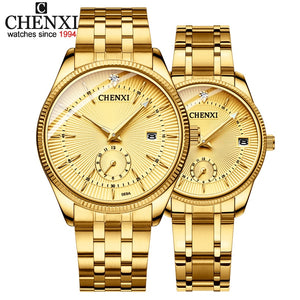 CHENXI Gold Wrist Watch Men Watches Lady Top Brand Luxury Quartz Wristwatch For Lover's Fashion Dress Clock Relogio Masculino