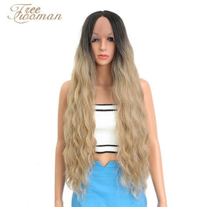 FREEWOMAN 42inch Synthetic Lace front Wigs Long Deep Wave Ombre Wigs For Black Women Kanekalon Cosplay Wig Fake Hair Black Brown