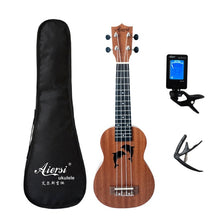 Load image into Gallery viewer, Aiersi full pack 21 inch ukelele mahogany Soprano gecko ukulele guitar musical gifts instrument 4 string Hawaiian mini guitarra