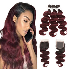 Load image into Gallery viewer, Brazilian Body Wave Bundles With Closure T1B/27 30 Ombre Blonde Brown Human Hair Weave Bundles With Closure Non-Remy Hair SOKU