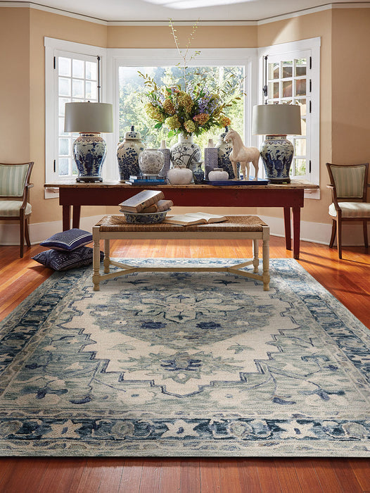 Avanti-Medallion Ivory Denim Hand Tufted Rugs