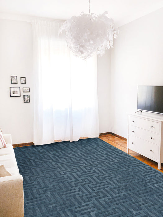 Gallery-Puzzle Slate Blue Hand Loomed Area Rugs