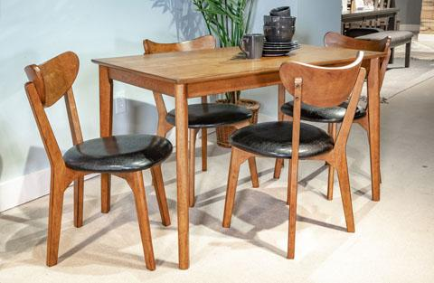 Contemporary 5pc Table Set, Brown