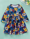 Autumn Fashion Long Sleeve Floral Printed Princess Dress