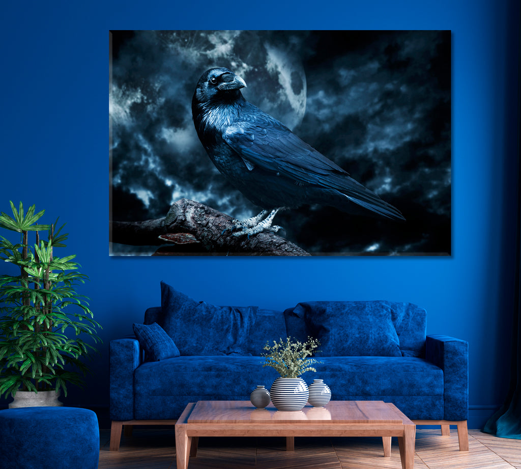 Black Raven in Moonlight