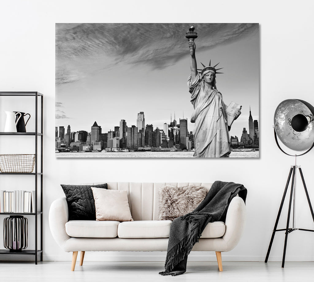 Statue of Liberty and Manhattan Cityscape in Black and White