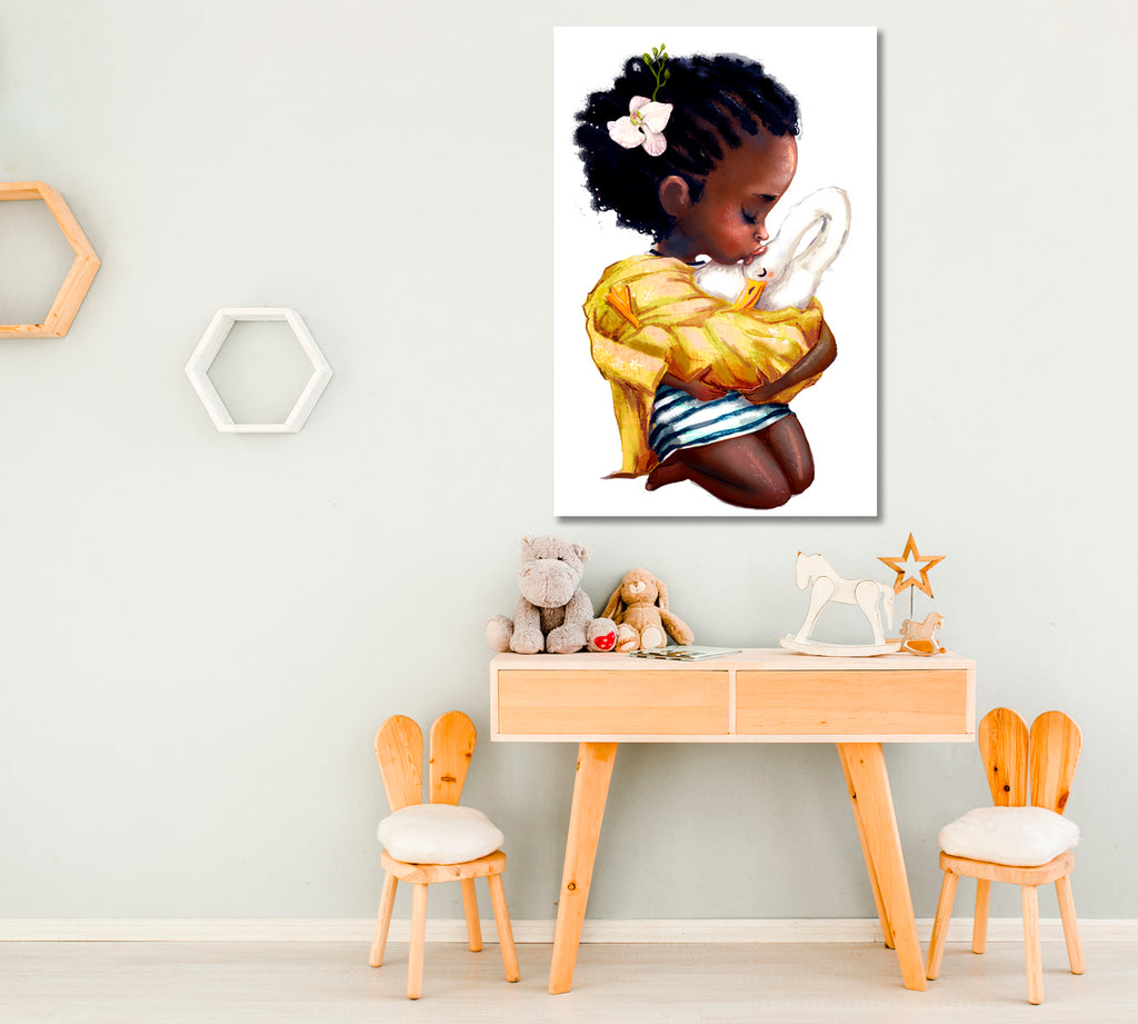 African Baby Girl with Goose