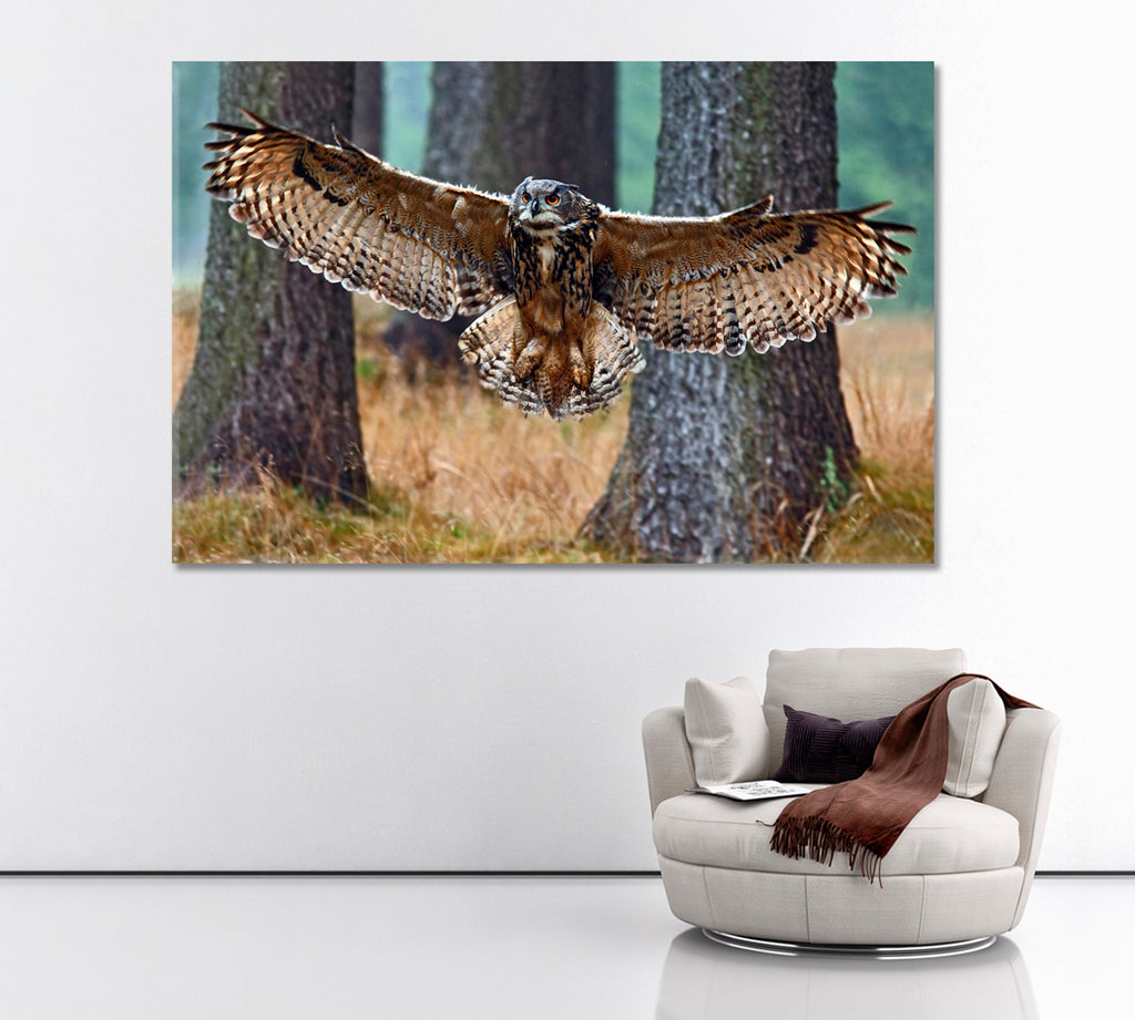 Flying Eurasian Eagle Owl in Forest