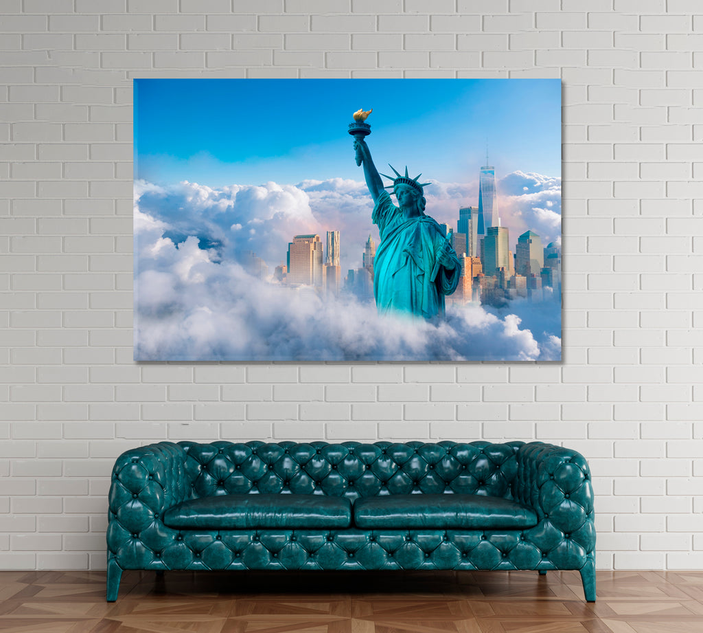 New York City with Statue of Liberty in Clouds
