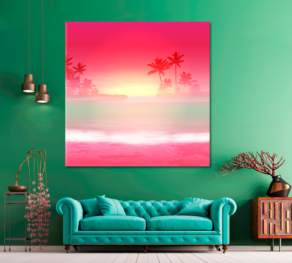Sea with Palm Trees at Sunset