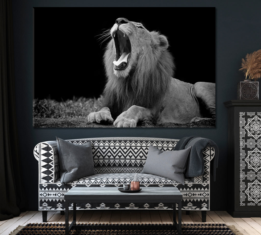 African Lion in Black and White